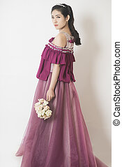 Beauty Fashion women - Purple elegance Bride in wedding...