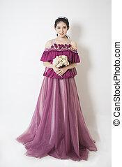 Beauty Fashion women - Purple elegance Bride in wedding...