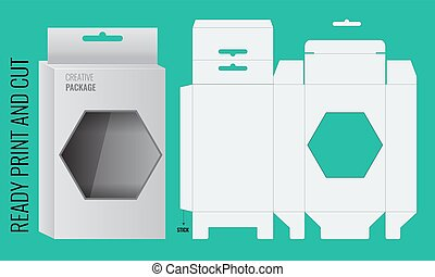 Vector box with Shelf Hanging Holes and Die cut Layout. -...