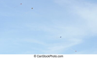 quot;kite flying over blue sky background, dayquot; - kite...