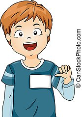 Kid Boy Blank Name Tag - Illustration of a Boy Showing His...