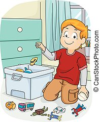 Kid Boy Chores Store Toys - Illustration of a Boy doing...