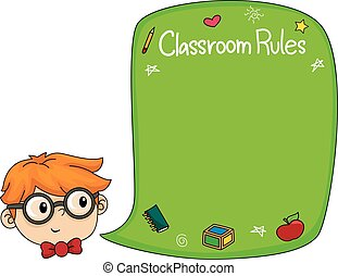 Kid Boy Classroom Rules Blackboard - Illustration of a Boy...