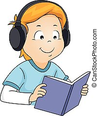 Kid Boy Book Audiobook - Illustration of a Boy Listening to...
