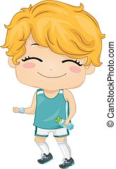 Kid Boy Jogging Outfit - Illustration of a boy wearing a...