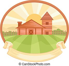 Farm Frame Ribbon - Illustration of a Farm Frame with a...