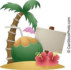 Hawaiian Island Coconut Sign Board - Illustration of...