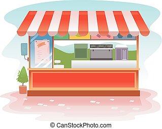 Kiosk Outdoor Store - Illustration of a Red Kiosk Store