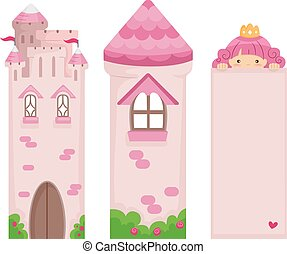 Princess Bookmark Printables - Illustration of a set of Pink...