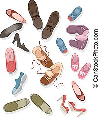 Shoes - Illustration of Different sizes and styles of Shoes