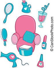 Spa Elements - Illustration of Spa Elements in Pink and Blue