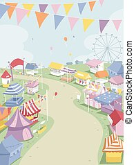 Festival Booths - Illustration of a Big Theme Park...