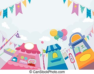Candy Stores Theme Park - Illustration of Candy Stores at...