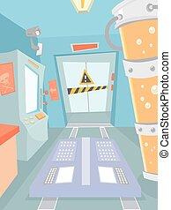 laboratorio, caricatura