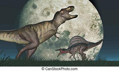 Tyrannosaurus Rex and Spinosaurus - Computer generated 3D...