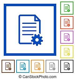 Document setup framed flat icons - Set of color square...