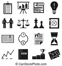 Business office icons set, simple style