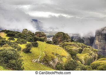 Meteora Rocks - Greece Fog The scenic Meteora Rocks