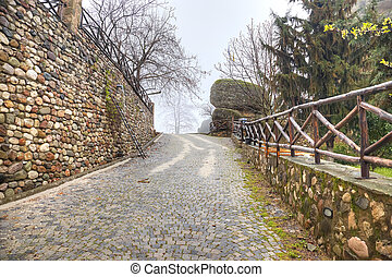 Greece Meteora Monastery on a rock Road - Road in monastery...
