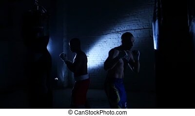 Boxer punching bag. Slow motion - Training with a punching...