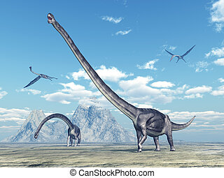 Omeisaurus and Quetzalcoatlus - Computer generated 3D...