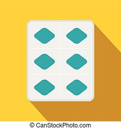 Pills in a blister pack icon, flat style - Pills in a...