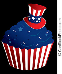 Red white and blue cupcake - American themed cupcake in a...