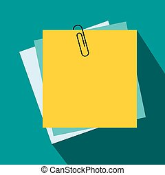 Sheet of paper for notes icon, flat style