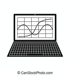 Laptop with business graph icon, simple style