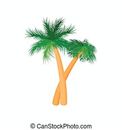 Two palm trees icon, cartoon style