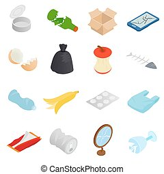 Waste and garbage icons set, isometric 3d style - Waste and...