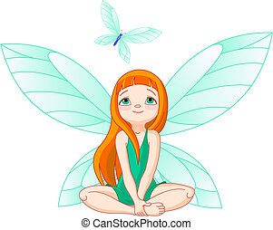 Fairy observes for flying butterfl - Little cute fairy...
