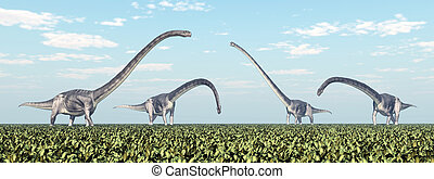 Dinosaur Omeisaurus - Computer generated 3D illustration...