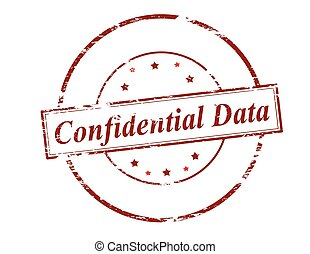 Confidential data - Rubber stamp with text confidential data...