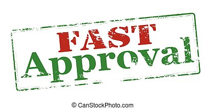 Fast approval - Rubber stamp with text inside, vector...