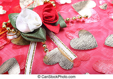 Roses flowers clothes decoration as background.