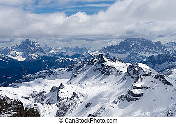 View from Sass Pordoi in the Upper Part of Val di Fassa