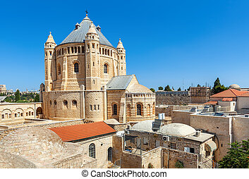 Church of Dormition in Jerusalem, Israel - View of Church of...