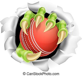 Claw with Cricket Ball Breaking out Of Background - An...