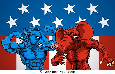 American Politics Elephant Donkey Fight - American politics...