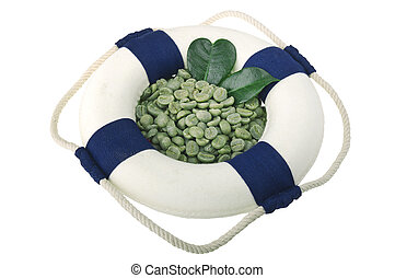 Lifebelt with green coffee beans on the white background