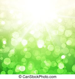 Blurred Summer Vector Background With Sun on green
