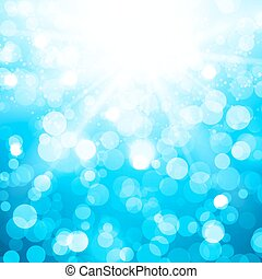 Blurred Vector Background With Sun Rays And Bokeh - Blurred...