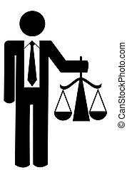 figure holding up scales of justice - business man or figure...
