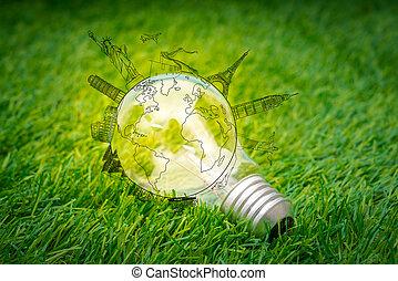 光, 旅行, 地方, 燈泡, 草, 增長