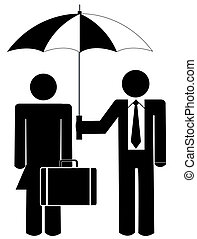 man holding umbrella for woman - business man holding...