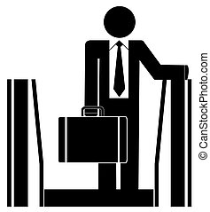 business man riding up escalator carrying briefcase