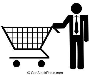business man pushing shopping cart - illustration