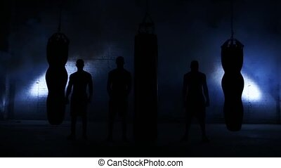 Boxing workout, training with a punching bag in a boxing...