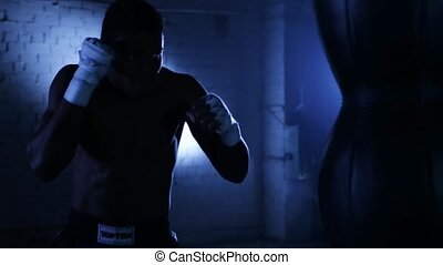 African american boxer athlete shadow boxing - African...